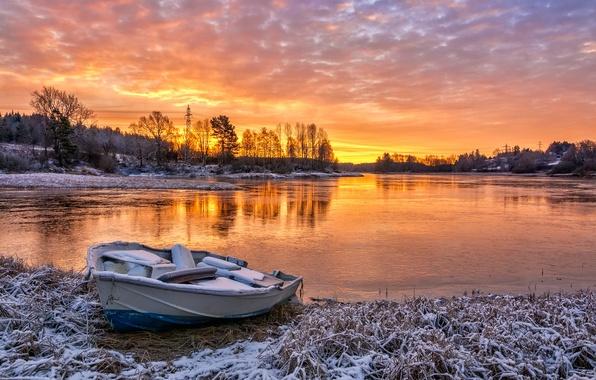 Картинка осень, закат, река, лодка