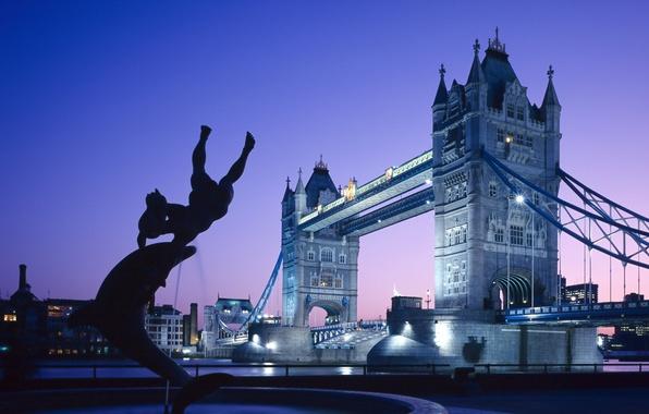 Картинка Англия, Лондон, Закат, Дома, Огни, Мост, Река, Фонтан, Великобритания, Сумерки, Тауэрский мост, Bridge, Sunset, Lights, …