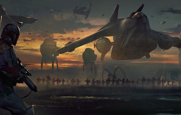 Картинка star wars, art, boba fett, imperial march