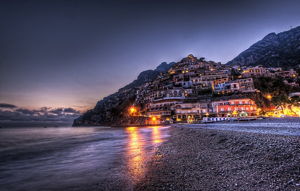 Картинка горы, город, HDR, дома, вечер, Италия, Italy, Campania, Positano