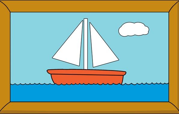 Картинка корабль, картина, рамка, sea, simpsons picture