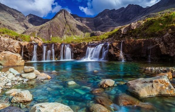 Картинка небо, горы, озеро, камни, потоки