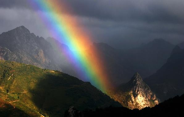 Картинка лето, небо, горы, радуга