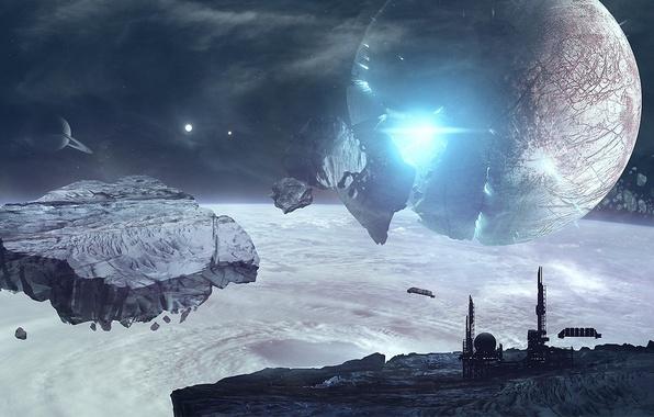 Картинка обломки, космос, звезды, взрыв, корабль, планета, станция, атмосфера, астероиды, арт, разрушение