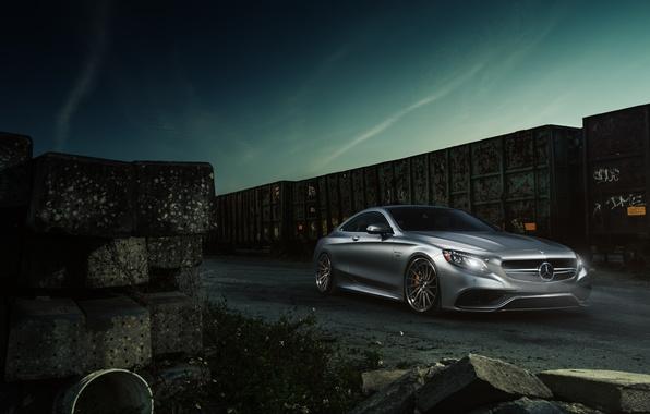 Картинка Mercedes-Benz, Car, AMG, Coupe, Train, Wheels, S63, ADV.1, 2015