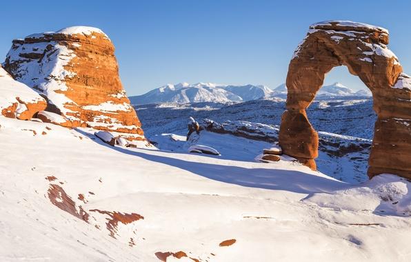 Картинка зима, снег, скалы, каньон, панорама, арка, США