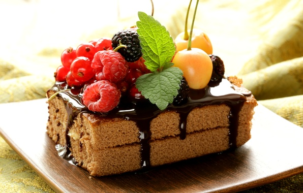 Картинка ягоды, малина, шоколад, торт, пирожное, мята, десерт, смородина, черешня, ежевика, сладкое, глазурь