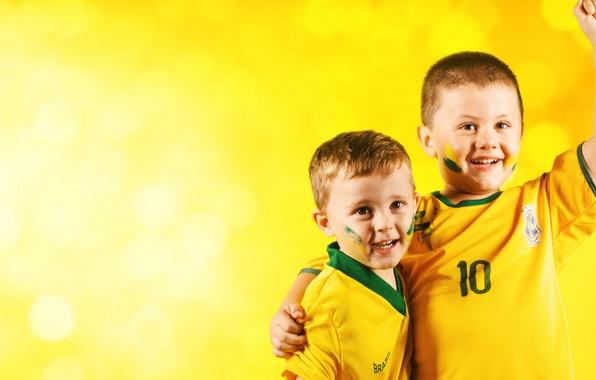 Картинка wallpaper, happy, smile, football, Brazil, fans, kids