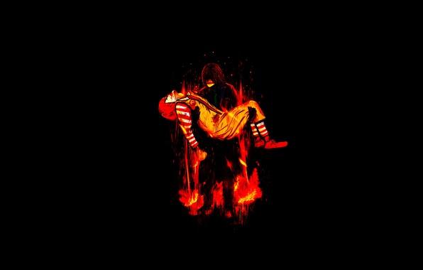 Картинка огонь, пламя, джокер, клоун
