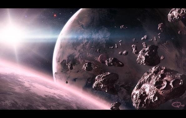 Картинка космос, звезда, планеты, арт, метеориты, QAuZ