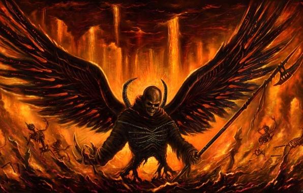 Обои demon, fire, skull, Angel картинки на рабочий стол, раздел фантастика - скачать