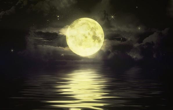 Картинка море, небо, облака, ночь, луна, звёзды, горизонт, дорожка, луная