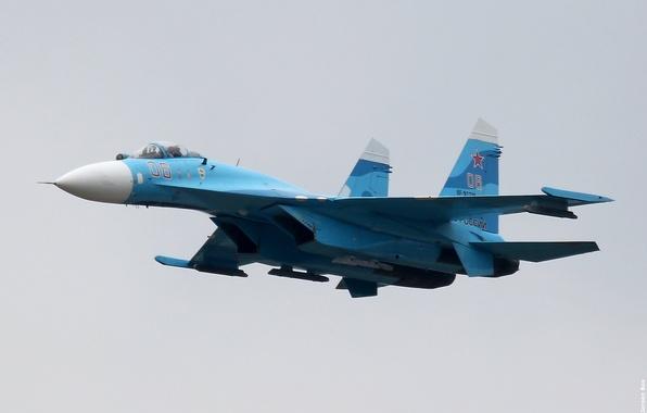Картинка российский, многоцелевой, Flanker, Су-27, всепогодный, ВВС России, истребитель четвёртого поколения, высокоманёвренный