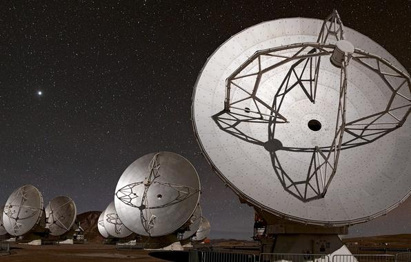 Картинка небо, космос, ночь, телескоп, прибор