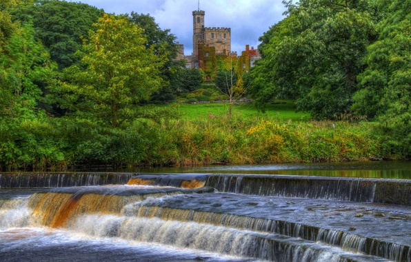 Картинка лес, деревья, парк, река, замок, англия, поток, башни, пороги, Hornby castle