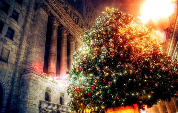Картинка украшения, огни, праздник, здание, елка, новый год, рождество, света