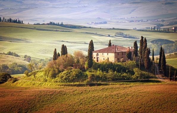 Картинка лето, небо, деревья, пейзаж, природа, дом, Италия, summer, house, Landscape, sky, trees, Italy, nature, сельская …