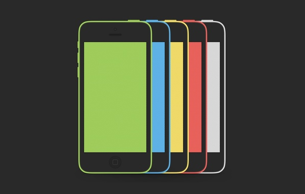 Картинка Apple, iPhone, Red, Blue, Green, White, Yellow, Hi-Tech, Colors, Smartphone, Minimalistic