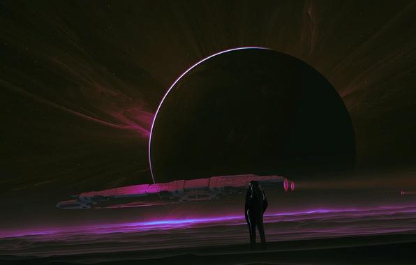 Картинка космос, поверхность, луна, человек, космонавт, скафандр, spaceship, астронавт