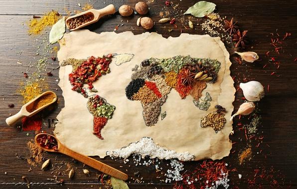 Картинка поверхность, красный, креатив, стол, черный, еда, позитив, размытость, материки, перец, карта мира, гвоздика, ням-ням, континенты, …