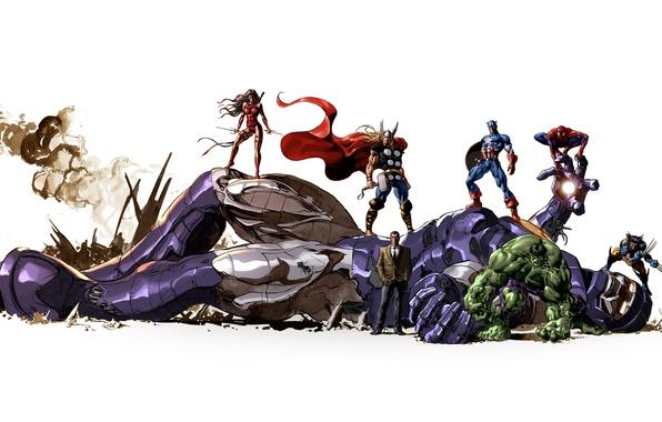 Картинка робот, персонажи, wolverine, халк, marvel, комикс, тор, супер герои, comics, captain america, капитан америка, человек …