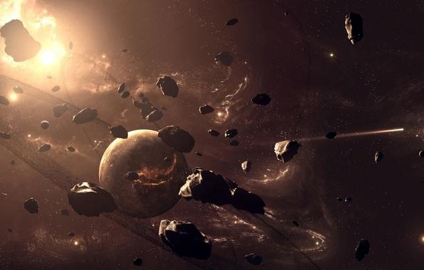 Картинка планеты, метеориты, небосвод, размеры