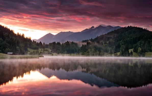 Картинка лес, горы, природа, озеро, рассвет, утро, Пейзаж