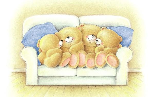 Картинка настроение, вечер, семья, арт, мишка, разговор, детская, Forever Friends Deckchair bear