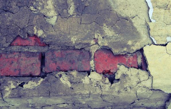 Картинка трещины, стена, узор, кирпич, штукатурка