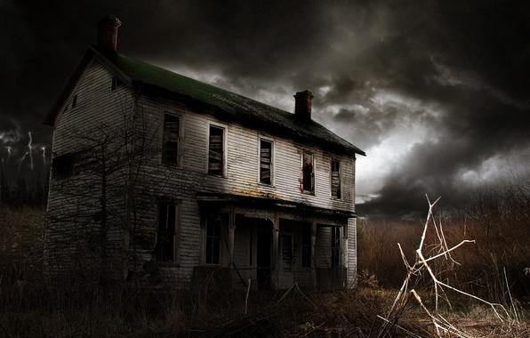 Картинка мрак, Небо, Дом, Окна