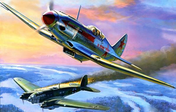 Картинка небо, война, рисунок, истребитель, бомбардировщик, самолёты, подбитый, немецкий, советский, средний, высотный, He 111, Heinkel, МИГ-3