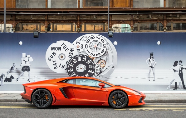 Картинка оранжевый, стена, профиль, lamborghini, тротуар, orange, изображение, aventador, lp700-4, ламборгини, авентадор, поребрик