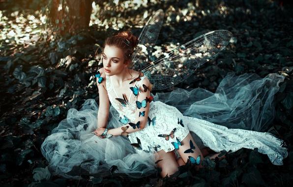 Картинка девушка, бабочки, лицо, стиль, фон, крылья, платье