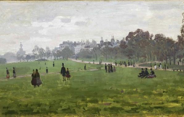 Картинка трава, деревья, парк, люди, отдых, лондон, картина, прогулка, пикник, Claude Monet