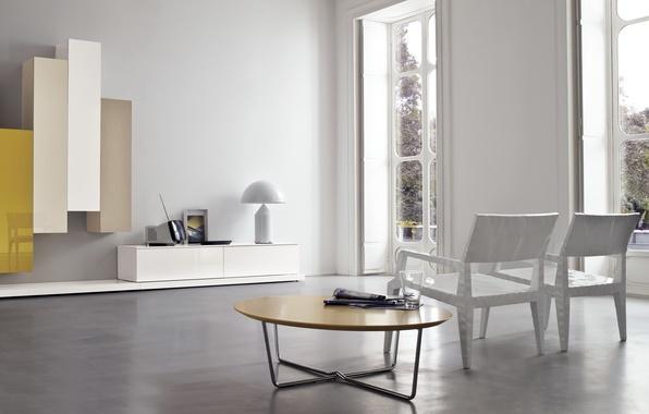 Картинка белый, желтый, дизайн, стол, мебель, интерьер, кресло, white, design, yellow, modern, chair, модерн, furniture
