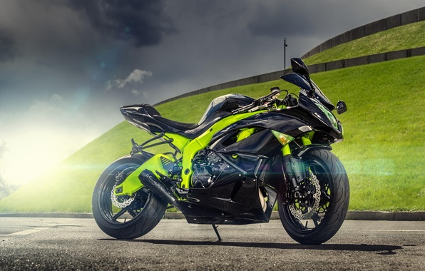 Картинка солнце, фотограф, ниндзя, Kawasaki, блик, кавасаки, motorcycle, Ninja, спортивный мотоцикл, ZX-6R, sport bike, Максим Бондаренко