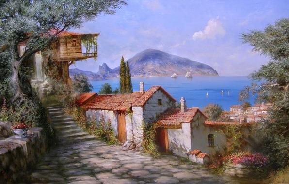 Картинка море, лето, радость, цветы, дерево, рай, гора, Солнце, красота, картина, парус, домики, крым, живопись, Гурзуф, …