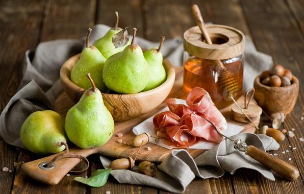 Картинка мед, зеленые, мясо, посуда, фрукты, орехи, груши, ветчина, Anna Verdina