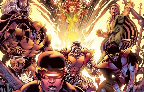 Картинка storm, люди икс, X-Men, wolverine, colossus, cyclops, nightcrawler, fenix