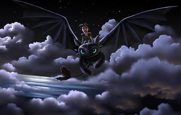 Картинка полет, радость, ночь, дракон, парень, art, как приручить дракона, беззубик, How to Train Your Dragon, …