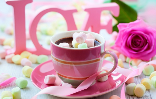 Картинка colorful, wallpaper, love, rose, flower, pink, cup, chocolate, sweet, Valentine's Day, drink, coffee, passion, sugar, …