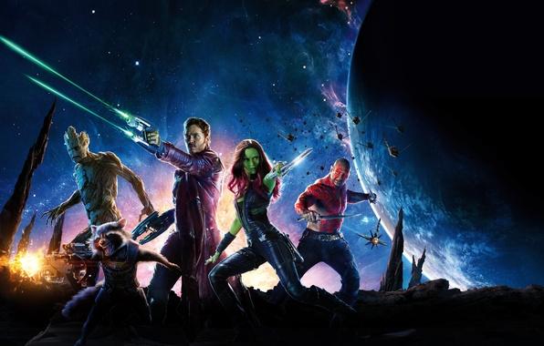 Картинка космос, звезды, оружие, фантастика, планета, Зои Салдана, комикс, Rocket, Zoe Saldana, Стражи Галактики, Peter Quill, …