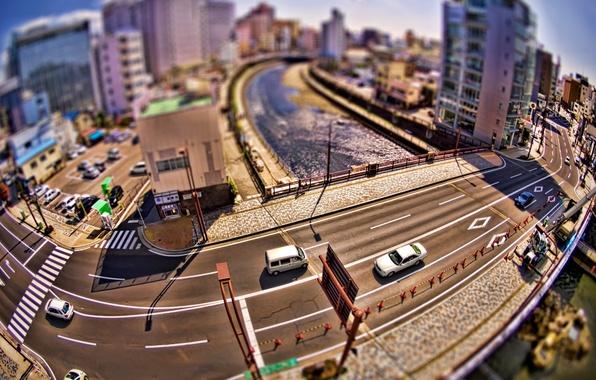 Картинка дорога, машины, city, город, креатив, дома, мосты, улицы, photos, roads, bridges, creative