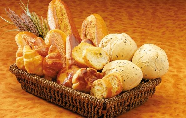 Картинка корзина, хлеб, сдоба, выпечка, булочки, ломти, батоны