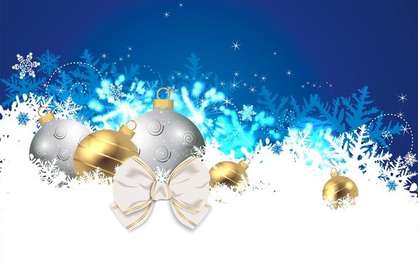Картинка снежинки, игрушки, новый год