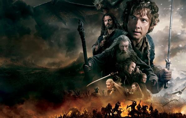 Картинка огонь, дракон, дым, меч, фэнтези, эльфы, гномы, битва, Evangeline Lilly, хоббит, орки, Орландо Блум, Orlando …