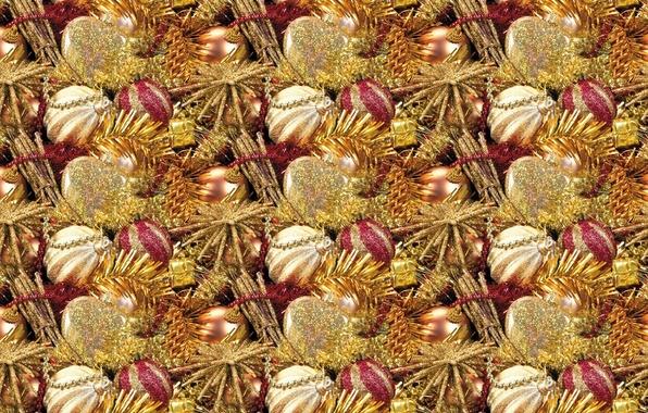 Картинка шарики, фон, праздник, текстура, Новый год, бусы, мишура, новогодние шары