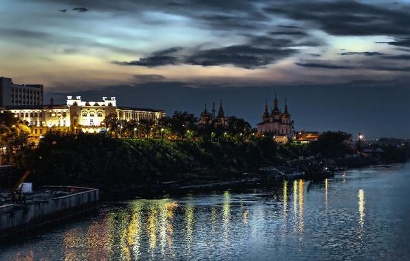 Картинка закат, ночь, город, огни, река, набережная, Тюмень