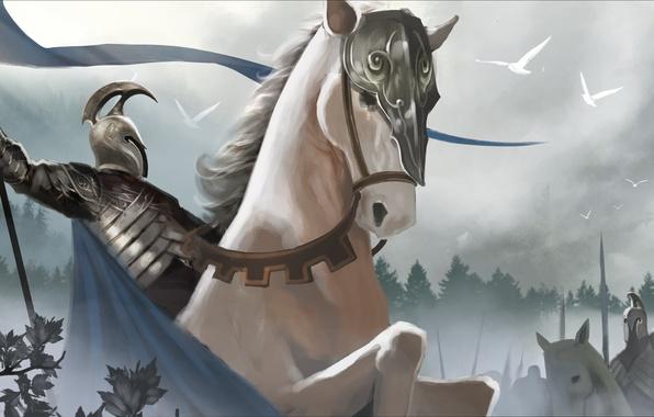 Картинка туман, конь, меч, армия, воин, властелин колец, арт, шлем, плащ, lord of the rings, знамя, …