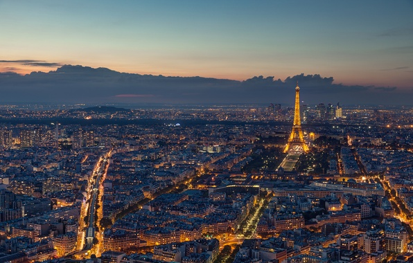 Картинка Франция, Париж, вечер, Эйфелева башня, Paris, France, Eiffel Tower, панорамма, La tour Eiffel, Seine